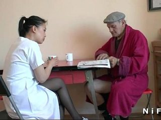 French senior man Papy Voyeur doing a youthful chinese nurse