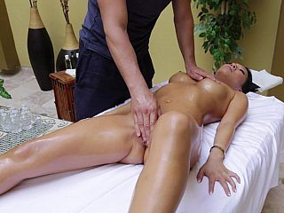 Massaging a hot Asian babe