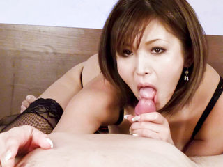 Stellar tanned Mai Kuroki in bed frolicking with a horny boys boner making him cum