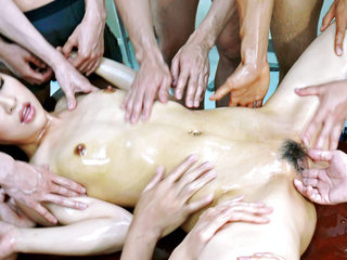 6 dudes lie Ayaka Mizuhara down for a nasty stunning fucky-fucky with heated oil